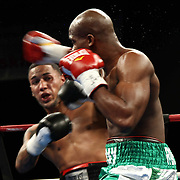 "Welterweight boxing pro ""The New"" Ray Robinson of Philadelphia, PA in action during champs at the chase against Welterweight boxing pro Daniel Sostre Friday, Nov 21, 2014 at The Case Center on The River Front in Wilmington, Del."