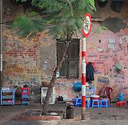 Early morning street cafe, French Quarter, Hanoi, Vietnam