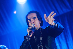 Singer Nick Cave, of Nick Cave and the Bad Seeds, on stage tonight at The Barrowlands, Glasgow, Scotland.<br /> &copy;Michael Schofield.