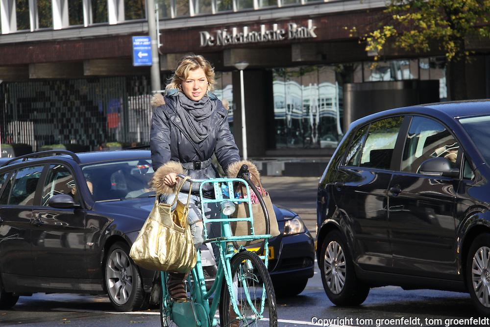 bike rider in traffic