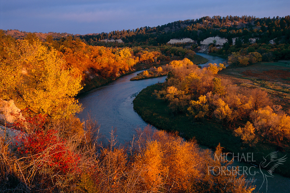 Niobrara Scenic Riverway, Nebraska.  At the crack of dawn, sunlight sneaks through a low bank of moisture-laden clouds and bathes the Niobrara River valley in golden light, shortly before a cold front moved through the region. For nearly a week in mid-0ctober, 70 degree days and blue skies turned this amazing mosaic of woodland and prairie, canyon and stream into a kaleidoscope of fall color. Hours later howling winds, snow flurries and gray skies dropped a curtain on these last Indian summer days- setting the stage for the coming winter.