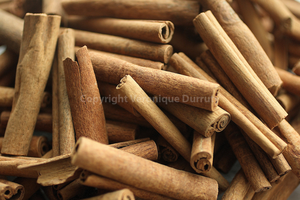 Cinnamon : the bark of the cinnamon tree grown in Sri Lanka, Indonesia, The Philippines, Myanmar, and Malaysia, is one of the most widely used spices in  Europe and North America. Its fragrance is powerful, warm, spicy, smooth, and lightly fruity. // Cannelle : ecorce du cannelier, arbre cultive au Sri Lanka, aux Philipines, en Birmanie et en Malaisie, la cannelle compte parmi les epices les plus appreciees du monde occidental. Son odeur est puissante, chaude, epicee, suave et legerement fruitee,