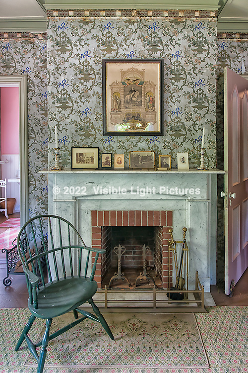 Roseland Cottage bedroom fireplace.  Historical structure in Woodstock, CT.  Built in 1846 in the then newly fashionable Gothic Revival style.