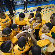 02/01/12 Newark DE: George Mason preparing to take the floor prior to the start of a Colonial Athletic Association conference Basketball Game against Delaware Wed, Feb. 1, 2012 at the Bob Carpenter Center in Newark Delaware.