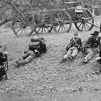 Union forces (5th U.S. Infantry Regiment) setting up an ambush during a recreation of the Battle of Glorieta pass in the New Mexico territories.