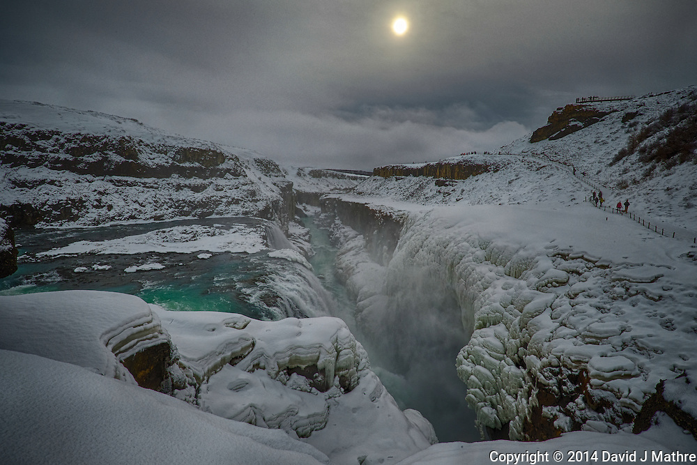 Gullfoss (Golden Waterfall)  on a Late Winter Afternoon. One of most popular tourist attractions in Iceland. Composite of 3 images taken with a Fuji X-T1 camera and Zeiss 12 mm f/2.8 lens (ISO 200, 12 mm, f/16, 1/80, 1/160, 1/320 sec). Image processed with Google HDR Efex Pro.