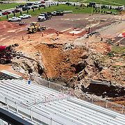 The construction toward filling the sinkhole continues at Governors Stadium on Wednesday, May 21, 2014. (Bill Persinger, APSU)