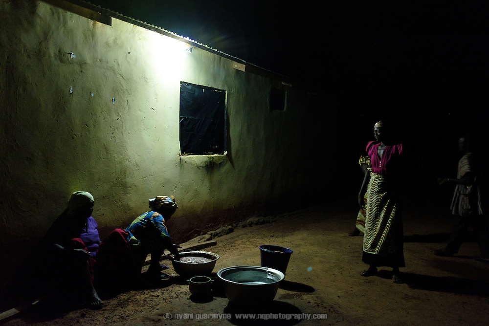Women making shea butter in Baazing in the Upper West Region of Ghana on 24 June 2015. Shea nuts grow wild and are harvested and processed to produce a butter that can be used for cooking as well as on the skin. Though very labour intensive to produce, it is an important source of income for women in the Upper West region of Ghana.