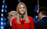 Republican presidential nominee Donald Trump's daughter Ivanka smiles doing a sound check during Trump's walk through at the Republican National Convention in Cleveland July 21, 2016.  REUTERS/Rick Wilking