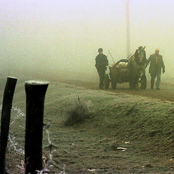 Villagers head to the Sunday market near Kopilic I Ulet in Kosovo Sunday, December 13, 1998.  (Photo by Ami Vitale)
