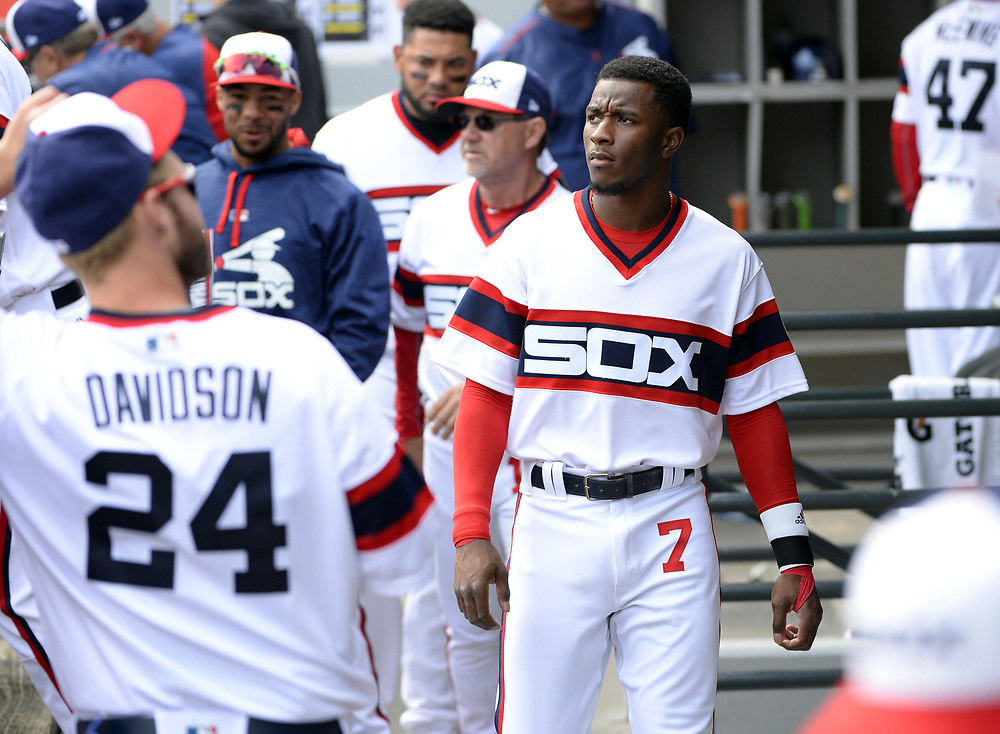 CHICAGO - APRIL 09:  Tim Anderson #7 of the Chicago White Sox looks on from the dugout during the game against the Minnesota Twins on April 9, 2017 at Guaranteed Rate Field in Chicago, Illinois.  (Photo by Ron Vesely)   Subject:  Tim Anderson