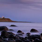 Sunset at Obrestad fyr (Obrestad lighthouse) at Jæren, Rogaland, Norway.