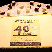 The celebratory 40th Anniversary cake at the 2007 Arts Gala at Wright State University, Saturday night.