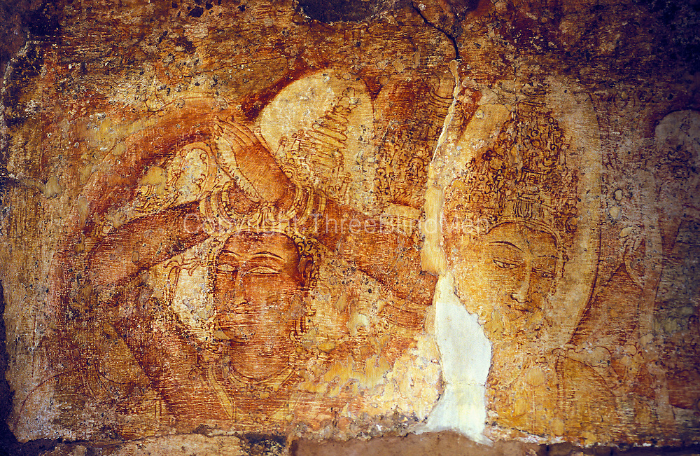 Thivanka Image House at ancient city of Polonnaruwa. 12th century murals in the classical syle.