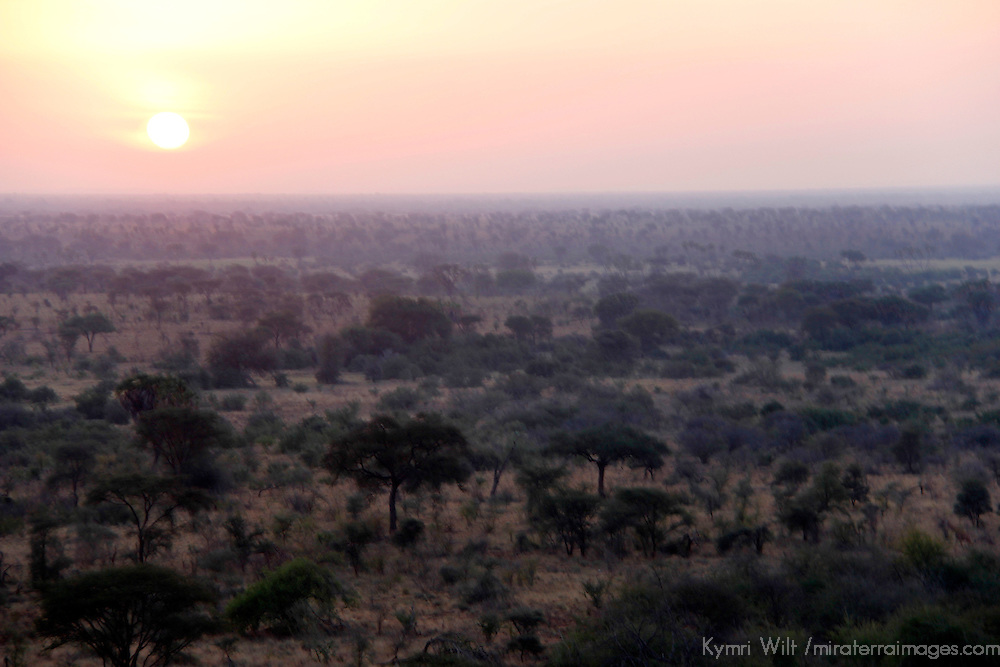 Africa, Kenya, Meru. Setting sun over the landscape at Meru National Park.