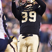 Army Kicker (#39) Alex Carlton from Wilmington DE kick attempt is good Army down 17-31 late in the 4th quarter. Navy set the tone early in the game as Navy defeats Army 31-17 in front of 69,223 at  Lincoln Financial Field in Philadelphia Pennsylvania