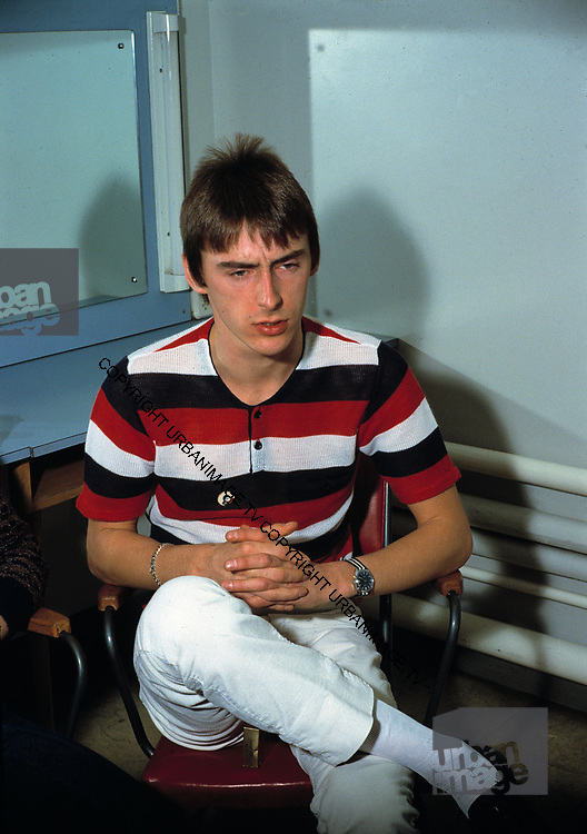 The Jam. Paul Weller backstage at Top of the Pops 1981
