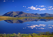 Alaska. Small unnamed pond and unnamed mountain west of Lake Matcharak by Noatak River.