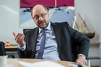 27 FEB 2017, BERLIN/GERMANY:<br /> Martin Schulz, SPD, desig. Parteivorsitzender und Kanzlerkandidat, waehrend einem Interview, in seinem Beuro, Willy-Brandt-Haus<br /> IMAGE: 20170227-01-006
