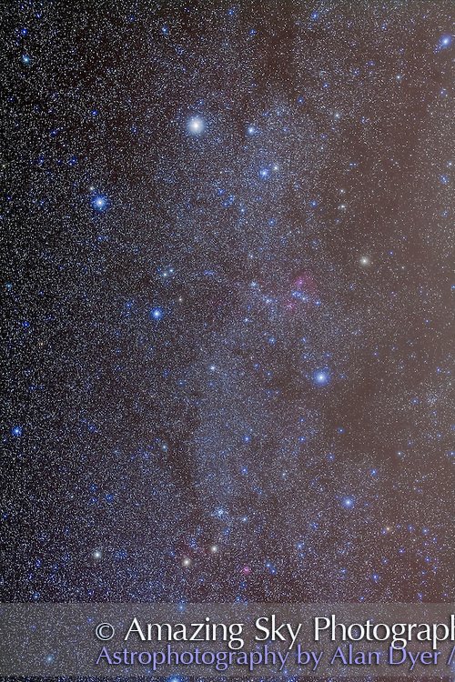The constellation of Auriga as well as southern Gemini, showing the 4 Messier star clusters: M36, M37, M38 in Auriga and M35 in Gemini. Taken from home with the Canon 5D MkII at ISO 800 and Sigma 50mm lens at f/4 for a stack of 5 x 6 minute exposures, plus a stack of 2 x 6 minutes with the Kenko Softon filter.