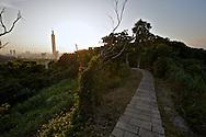 A hiking trail on Tiger Mountain in Taipei, Taiwan.