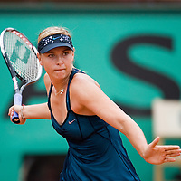 07 June 2007: Russian player Maria Sharapova hits a forehand shot to Serbian player Ana Ivanovic during the French Tennis Open semi final won 6-2, 6-1 by Ana Ivanovic over Maria Sharapova on day 12 at Roland Garros, in Paris, France.