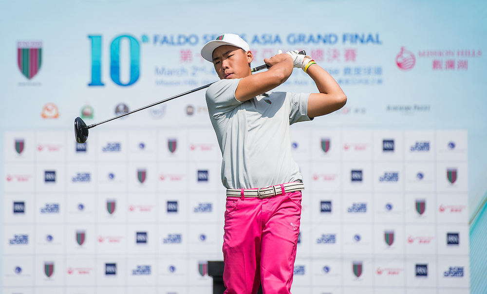 Hui Yong Sherng of Malaysia in action during day one of the 10th Faldo Series Asia Grand Final at Faldo course in Shenzhen, China. Photo by Xaume Olleros.