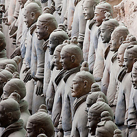 China, Xi'an, Rows of Terra Cotta Warriors inside imperial tomb of Qin Shi Huang the First Emperor of China from 210 BC