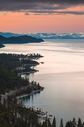 """Sunrise at Lake Tahoe 16"" - Photograph of a wavy Lake Tahoe East Shore shoreline shot at sunrise. Memorial Point and Sand Harbor can be seen."