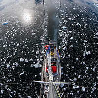 Antarctica, Anvers Island, High angle view from mast of sailing yacht S/Y Sarah Vorwerk motoring through ice near Palmer Station