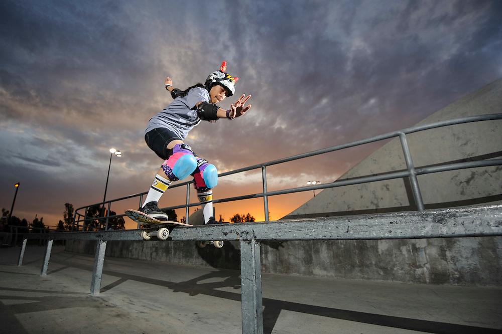 Evelyn May Abad,   boardslide at Lake Cunningham Skatepark   G Project Gear