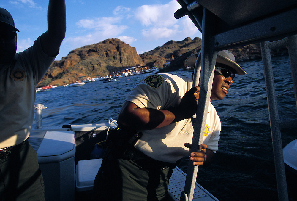 Sheriff Deputy Al Huff patrols Copper Canyon area of Lake Havasu on look out for those boating under the influence of alcohol, a major problem during holiday weekends like Memorial Day.