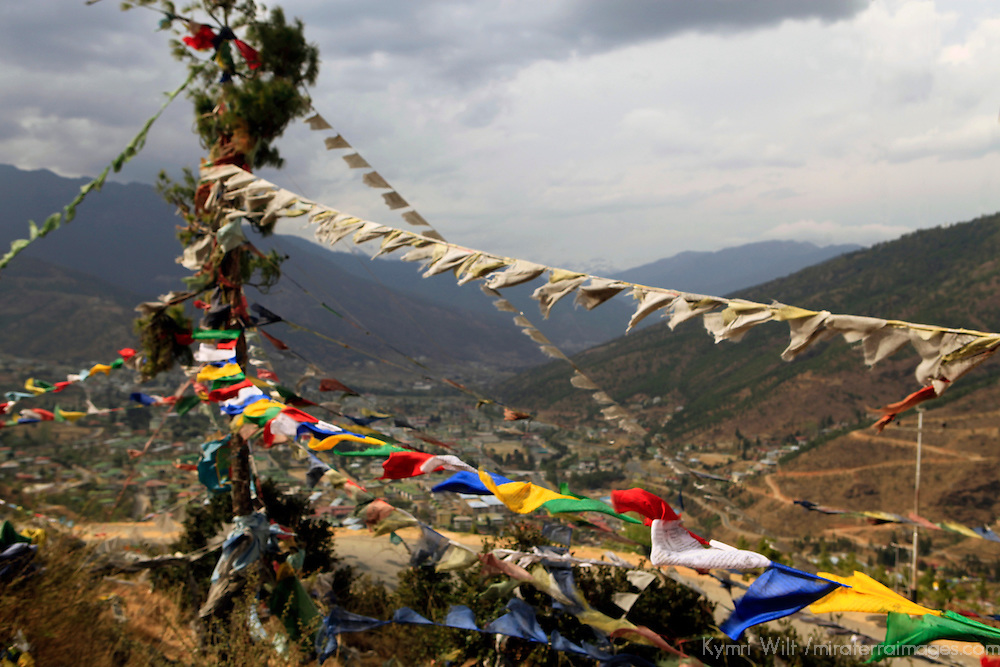Asia, Bhutan, Thimpu. Prayer Flags wave over Thimpu.