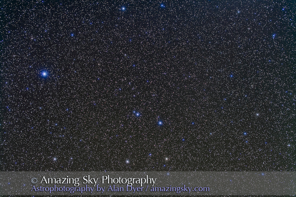 The constellations of Corvus and Crater. Spica in Virgo is at left. Taken from New Mexico, March 2013, with the 50mm Sigma lens at f/2.8 and Canon 5D MkII at ISO 800 for a stack of 5 x 3 minute exposures + 2 exposures taken through the Kenko Softon filter for the star glows.
