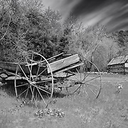 Old Wooden Wagon And Ice House - Oak Glen CA - Black & White