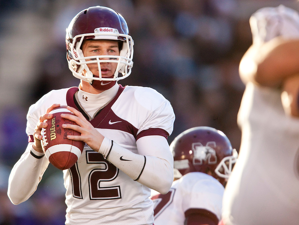 McMaster Marauders quarterback Kyle Quinlan drops back to pass during his team's 34-28 loss to the University of Western Ontario in their OUA semi-final at TD Waterhouse Stadium in London, Ontario, November 6, 2010. <br /> The Canadian Press/ GEOFF ROBINS