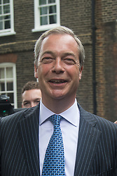 "Smith Square, Westminster, London, June 16th 2016. UKIP leader Nigel Farage launches his ""biggest ever"" advertising campaign as Leave and Remain enter their last week of campaigning before the EU referendum on June 23rd. PICTURED: Nigel Farage remains in good cheer despite Remain campaigners disrupting yet another of his events."