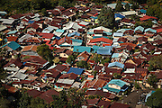 Bird's eye view of a neighborhood on the island of Penang in Malaysia