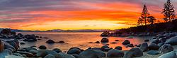 """Secret Cove Sunset 1"" - Panoramic photograph of a vibrant orange sunset at Secret Cove, Lake Tahoe."