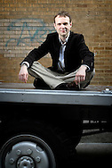 UK. London. Jonathan Holmes, producer of Fallujah, the play. Photographed outside the Old Truman Brewery where the play is being shown, on Brick lane, East London..Photo©Steve Forrest/Workers Photos