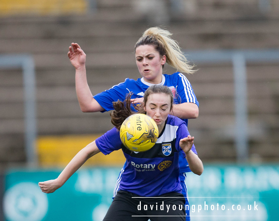 Forfar Farmington's Megan McCarthy and East Fife's Melissa McAlister during Farmington 4-1 win over  East Fife in the Scottish Womens' Premier League 2 at Station Park in  Forfar : Image &copy; David Young<br /> <br />  - &copy; David Young - www.davidyoungphoto.co.uk - email: davidyoungphoto@gmail.com