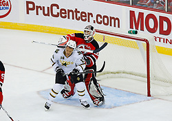 Oct 22, 2008; Newark, NJ, USA; New Jersey Devils goalie Martin Brodeur (30) hits Dallas Stars center Sean Avery (16) in the head with his blocker during the first period at the Prudential Center. This is their first meeting since last year's playoffs when Avery was a member of the New York Rangers.