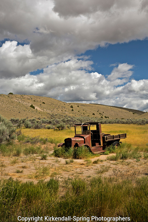 MT00057-00...MONTANA - Truck abandoned in a field next to the ghost town of Bannack; now in Bannock State Park.