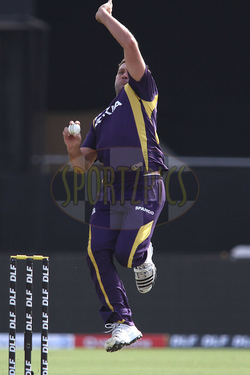 Jacques Kallis of the Kolkata Knight Riders sends down a delivery during match 7 of the the Indian Premier League ( IPL) 2012  between The Rajasthan Royals and the Kolkata Knight Riders held at the Sawai Mansingh Stadium in Jaipur on the 8th April 2012..Photo by Shaun Roy/IPL/SPORTZPICS