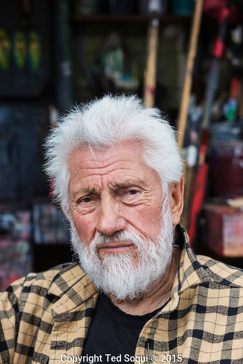 Ed Moses posing at his outside art studio.<br /> 89 year old LA artist Ed Moses at his Venice, CA studio.<br /> Ed is having his first solo show in almost 40 years. The show will consist of his drawings from the 1960's and 70's and will be held at the Los Angeles Contemporary Museum of Art.<br /> Ed Moses is considered one of LA's greatest and most successful artist.