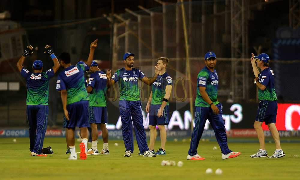 Team Rajasthan Royals during a practice session before the start of match 22 of the Pepsi IPL 2015 (Indian Premier League) between The Rajasthan Royals and The Royal Challengers Bangalore held at the Sardar Patel Stadium in Ahmedabad , India on the 24th April 2015.<br /> <br /> Photo by:  Pal Pillai / SPORTZPICS / IPL