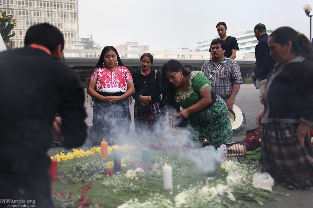 Members of the Committee for Peasant Union (CUC) and Waqib 'Kej National Mayan Coordination hold a Mayan Ceremony outside the Supreme Court of Justice the morning before the final audience begins. For the first time in world history, a former head of state was not only tried for genocide and crimes against humanity in a national court, but found guilty of these charges. Former Guatemalan de facto head of state Jose Efrain Rios Montt, who ruled Guatemala from March 1982 to August 1983, was sentenced to 80 years of jail. Guatemala City, Guatemala. May 10, 2013.