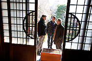 Hugh Montgomery (1st from left)) of The Independent,, Kaoru Yamamoto (centre, chef at SO Restaurant London) and Tetsuro Hama ( right of image)- owner of SO Restaurant London, dining in Kanga-an temple, a restaurant serving Shojin-ryori cuisine (eaten mainly by Buddhist followers), in Kyoto, Japan, on Friday 13th January 2012.