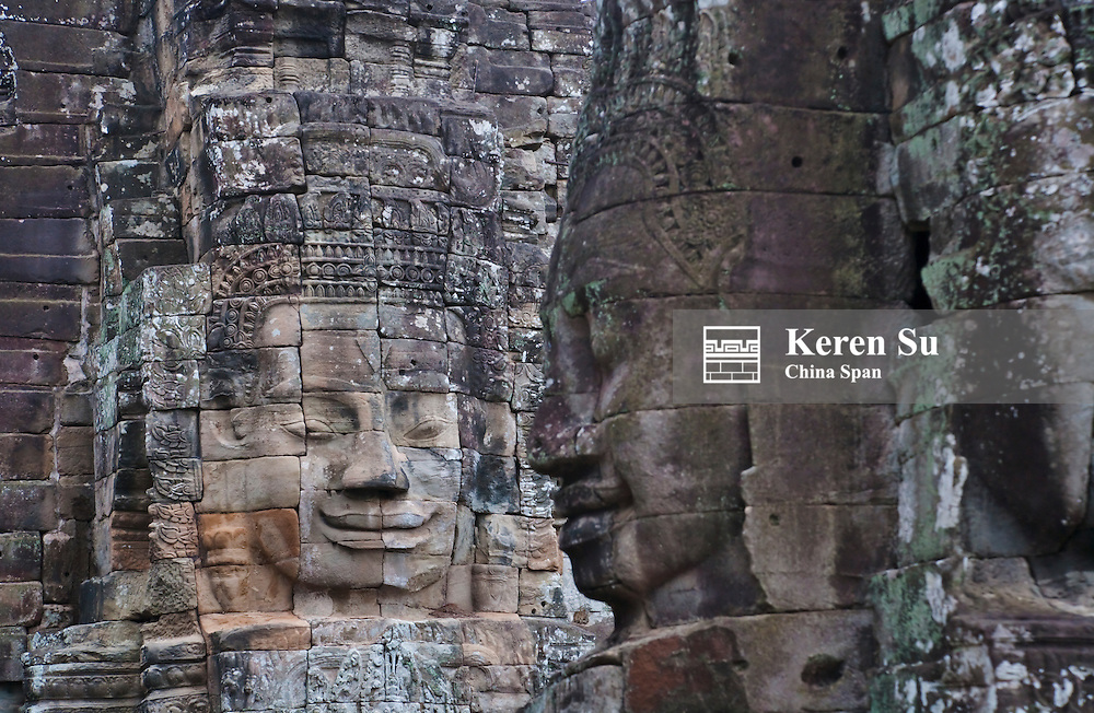Buddhist statues at Bayon Temple, Angkor Thom, UNESCO World Heritage site.