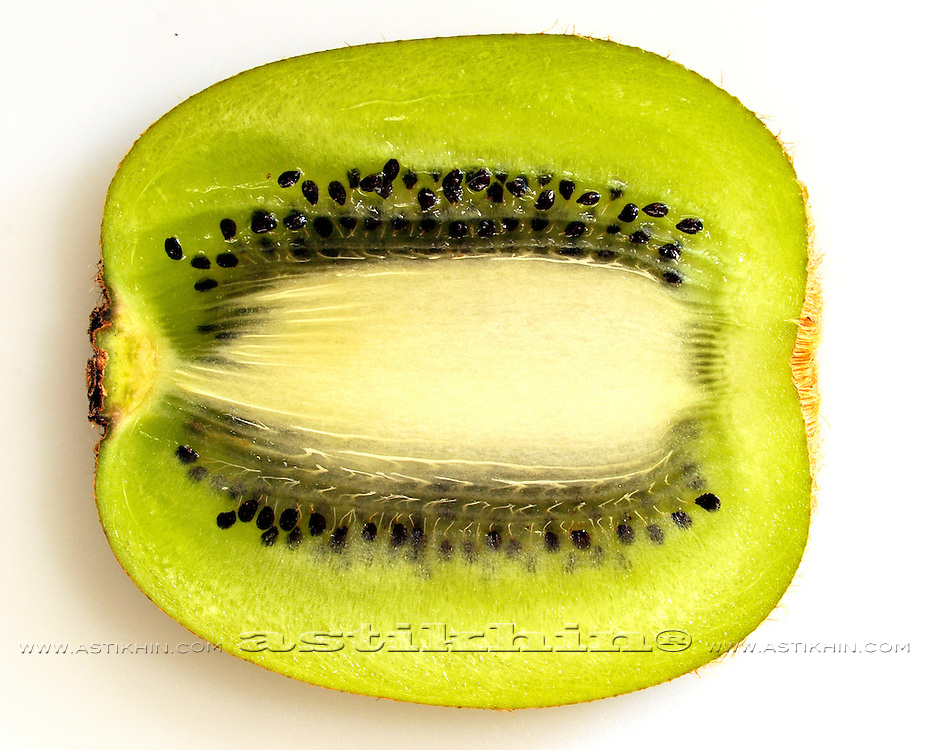 Close up of kiwi slice.